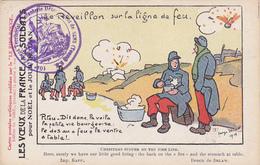 Cpa-militaria-reveillon Sur La Ligne De Feu-illustrateur Delaw-edi Du Rire-cachet Du 104 ème R.T.I De Sens ( Yonne) - Oorlog 1914-18