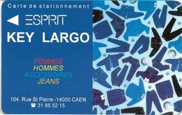 CARTE DE STATIONNEMENT A BANDE MAGNÉTIQUE VILLE DE CAEN 14  CALVADOS PRÊT A PORTER HOMME ESPRIT KEY LARGO JEAN'S - Francia