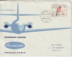Tchécoslovaquie 1960 Première Liaison Air France Prague Paris - Cartas