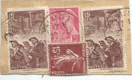 2FR 15 MINEURS X2+ SEMEUSE 15C+5C MERCURE AU VERSO PETITE ETIQUETTE PALAISEAU 1940 POUR SUISSE - Postmark Collection (Covers)