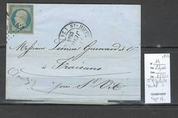 France - Lettre - Saint Hippolyte - Doubs - Type 14 + Yvert 14 Laiteux -1854 - Marcophilie (Lettres)