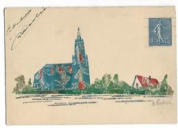 Timbre Semeuse Carte Postale Avec Découpes De Timbres Semeuse 5/10/25c   .. .G - Stamps (pictures)