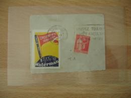 Waterman Stylo Cinquantenaire Vignette Timbre Erinnophilie Sur Fragment - Erinnofilie