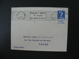 Lettre 1958 Avec Timbre Bande Publicitaire   Type Muller  Catalogue T.P..  H. Thiaude  250 Frs Francs  Pour Rouen - Poststempel (Briefe)