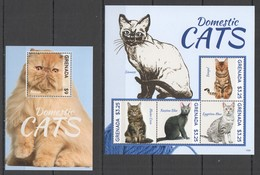 D535 2010 GRENADA FAUNA PETS DOMESTIC CATS #6642-45 MICHEL 18,5 EURO 1KB+1BL MNH - Domestic Cats