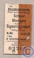 BRD - Entwertete Pappfahrkarte Edmond   -->  Scheer -  Mengen  Oder Sigmaringendorf - 1955 - Railway