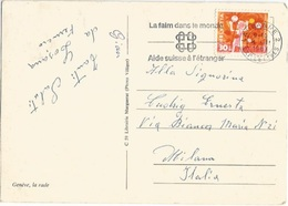 Freedom From Hunger PMK On Suisse Pro Juventute 1962 C30+10 Solo Franking PPC Lausanne 4mar1963 X Italy - ACF - Aktion Gegen Den Hunger