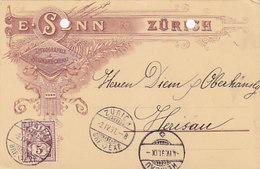 Zürich - E. Senn - Steindruckerei - Vorläufer-Werbe-Litho - 1891 !  (Unterschrift Des Besitzers)       (P-221-90505) - ZH Zurich