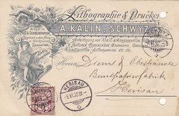 Schwyz - A.Kälin, Lithographie - Vorläufer-Werbe-Litho - 1892 !  (Unterschrift Des Besitzers)       (P-221-90505) - SZ Schwyz