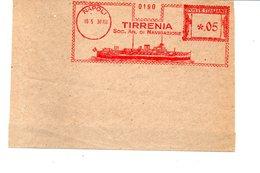 1939 EMA Affrancatura Meccanica Rossa Freistempel Napoli TIRRENA Soc. An. Di Navigazione Nitidissimo Profilo Di Nave - Marcofilia - EMA ( Maquina De Huellas A Franquear)