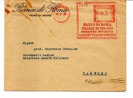 1938 EMA Affrancatura Meccanica Rossa Freistempel Milano Banco Di Roma Fil. Milano Cassette Di Sicurezza - Marcofilia - EMA ( Maquina De Huellas A Franquear)