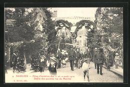 CPA Saulieu, Fetes D`aviation Des 11 Et 12 Aout 1912, Defile Des Societes Rue Du Marche - Saulieu