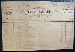 60342 - Facture François Jaccard Fonderie De Cuivre Jaune Ste-Croix 1.06.1873 - Schweiz
