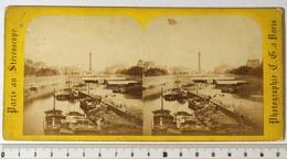 PHOTO STÉRÉO - PARIS 4e-12e CANAL ST-MARTIN, Bassin De L'Arsenal. Colonne Bastille. Péniches. Photo Charles Gaudin 1868 - Fotos Estereoscópicas