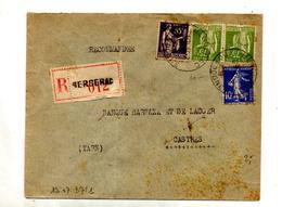 Lettre Recommandée Bergerac Que Paix Semeuse - Marcophilie (Lettres)