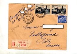 Lettre Recommandée Paris 114 Sur Arbois Gandon  + Bale - Marcophilie (Lettres)