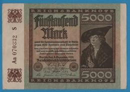 DEUTSCHES REICH 5000 Mark 02.12.1922# Aa 070332 S  P# 81e - 5000 Mark