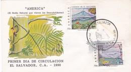 AMERICA, EL MEDIO NATURAL QUE VIERON LOS DESCUBRIDORES. EL SALVADOR 1990 FDC -LILHU - Salvador