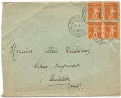 Suisse CV Corpataux 23jan1924 To Einsiedeln 23jan With Tell C.5 Block4 - Marcophilie