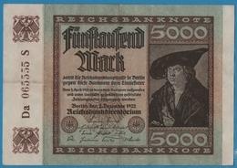 DEUTSCHES REICH  5000 Mark 02.12.1922# Da 065555 S  P# 81e - 5000 Mark
