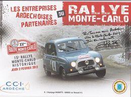 CPM, Rallye Monte Carlo 2012, Ardèche,  Equipage Ragnotti , Guigou Sur Renault 4 L Non Circulée, 2 Scannes - Rallyes