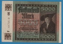 DEUTSCHES REICH  5000 Mark02.12.1922# F 88766 * OH P# 81b - 5000 Mark