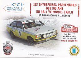 CPM, Rallye Monte Carlo 2011, Ardèche,  Equipage Jouanny Maldijan Sur Opel Kadett GTE Non Circulée, 2 Scannes - Rallyes