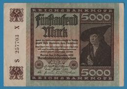 DEUTSCHES REICH 5000 Mark 02.12.1922# S257703X P# 81c - 5000 Mark