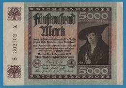 DEUTSCHES REICH 5000 Mark 02.12.1922# S302702X  P# 81c - 5000 Mark