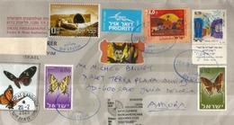 Timbre : Le Tombeau De Joseph (Naplouse) Et Papillons D'Israel, Sur Lettre Israel, Adressée Andorra, Avec Timbres à Date - Judaisme