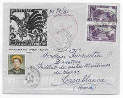 1954 - VIETNAM - ENVELOPPE SUPERBE ILLUSTREE INSTITUT OCEANOGRAPHIQUE De NHATRANG => CASABLANCA (MAROC) ! - Viêt-Nam