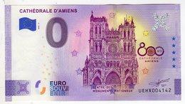 2020-2 BILLET TOURISTIQUE FRANCE 0 EURO SOUVENIR N°UEHX004142 CATHEDRALE D'AMIENS BILLET ANNIVERSAIRE 5 ETOILES - Essais Privés / Non-officiels