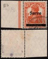 ✔️ Sarre 1920 - Germania Avec Surcharge - Signe 2 Fois ! - Yv. 5 (IIIB?) (o) - Depart 1 Euro - 1920-35 League Of Nations