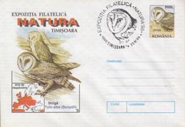 BIRDS, WESTERN BARN OWL, COVER STATIONERY, ENTIER POSTAL, 1998, ROMANIA - Eulenvögel