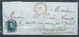 Nr 7 Op Brief Van Marchienne Au Pont Naar Bruxelles - 25 Dec 1854 - 1851-1857 Médaillons (6/8)