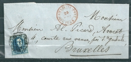 Nr 7 Op Brief Van Marchienne Au Pont Naar Bruxelles - 25 Dec 1854 - 1851-1857 Medaillen (6/8)