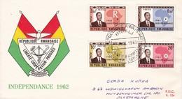 REPUBLIQUE RWANDAISE. LIBERTE, COOPERATION, PROGRES- INDEPENDANCE 1962 FDC - Rwanda