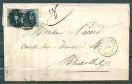 Nr 7 (2x) Op Brief Van Charleroi Naar Bruxelles - 23 Juil 1852 - 1851-1857 Medaillen (6/8)
