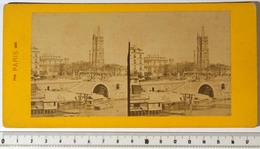 PHOTO STÉRÉO - PARIS 1er - La Seine Au Châtelet, Chantier Du Pont Au Change, Cagnards. Tour St-Jacques. XIXe 19e Siècle - Fotos Estereoscópicas