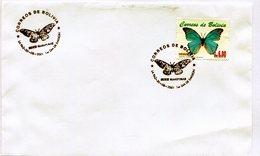 BOLIVIA 2001 FDC LA PAZ SERIE MARIPOSAS TORNASOL MORPHO GUDARTI G - NTVG. - Bolivia