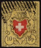 ✔️ Switzerland Schweiz 1850 - Rayon II -  Mi. 8 II (o) - CV 130.00 Euro - 1843-1852 Timbres Cantonaux Et  Fédéraux
