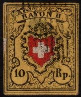 ✔️ Switzerland Schweiz 1850 - Rayon II -  Mi. 8 II (o) - CV 130.00 Euro - Thin Spot - 1843-1852 Timbres Cantonaux Et  Fédéraux