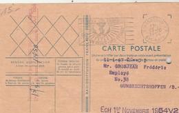 Mandat Radiodiffusion  Verso Carte Postale Grosjean Gumbrechtshoffen Bas Rhin Cachet Flamme Strasbourg 15/10/1954 - Radio Broadcasting