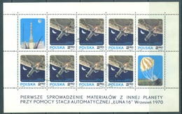 POLAND - 1970 - USED/OBLIT. - LUNA 16 -  Yv 1896 Mi 2040 - Lot 21253 - MINISHEET - 1944-.... République