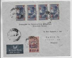 1945 - LIBAN - ENVELOPPE Par AVION De BEYROUTH => PARIS Avec TIMBRE FISCAL - Lebanon