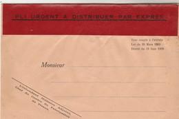 Enveloppe Neuve Bandeau Rouge PLI URGENT A DISTRIBUER PAR EXPRES  De : Intendant Militaire Centre Fabrication Tissus - Marcophilie (Lettres)