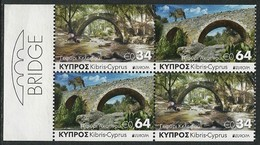 "CHIPRE/ CYPRUS/ ZYPERN  -EUROPA 2018 -TEMA ANUAL -""PUENTES.- BRIDGES - BRÜCKEN - PONTS"" - 2 SERIES De CARNET En BLOC - 2018"