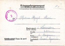 Kriegsgefangenenpost Prisonnier 1944 Stalag Kr-Gef Bau U Arb Batl 1  HAMBURG 6 +censure ( 2 Scan) - Dokumente