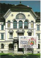 """Liechtenstein 1996: MK 143  """"Grosses Staats-Wappen"""" (10 Fr) Zu 1078 Mi 1136 Vor Regierungs-Palast Vaduz (Zu CHF 25.00) - Cartes-Maximum (CM)"""