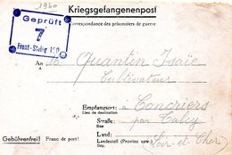 Kriegsgefangenenpost Prisonnier 1940 FRONT STALAG 190 Camp H 21 CHARLEVILLE France + Censure (2 Scan) - Dokumente